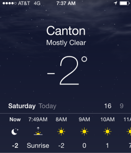 It's cold in Canton